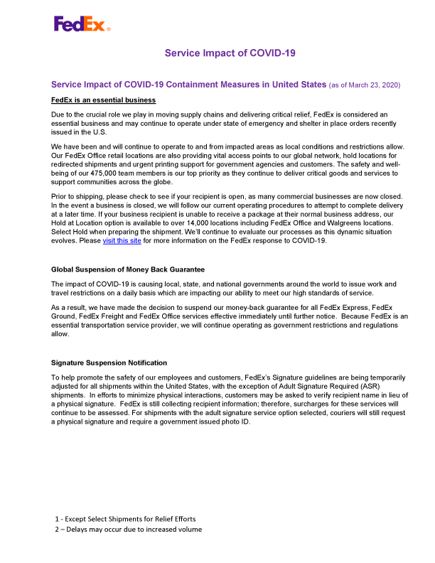 FedEx COVID-19 Update